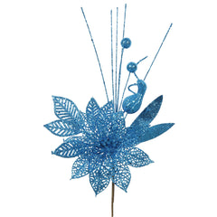 "12PK - 14"" Turquoise Glitter Poinsettia and Ball Decorative Christmas Pick"
