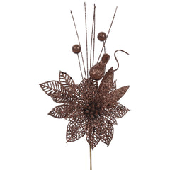 "12PK - 14"" Mocha Glitter Poinsettia and Ball Decorative Christmas Pick"