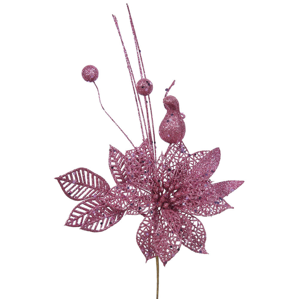 "12PK - 14"" Mauve Glitter Poinsettia and Ball Decorative Christmas Pick"