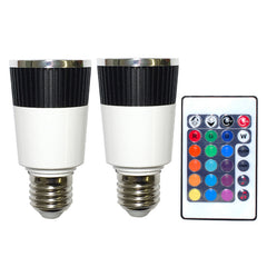 PLATINUM 2 x Music LED Color Changer E27 Lamps With 1 x Wireless Remote