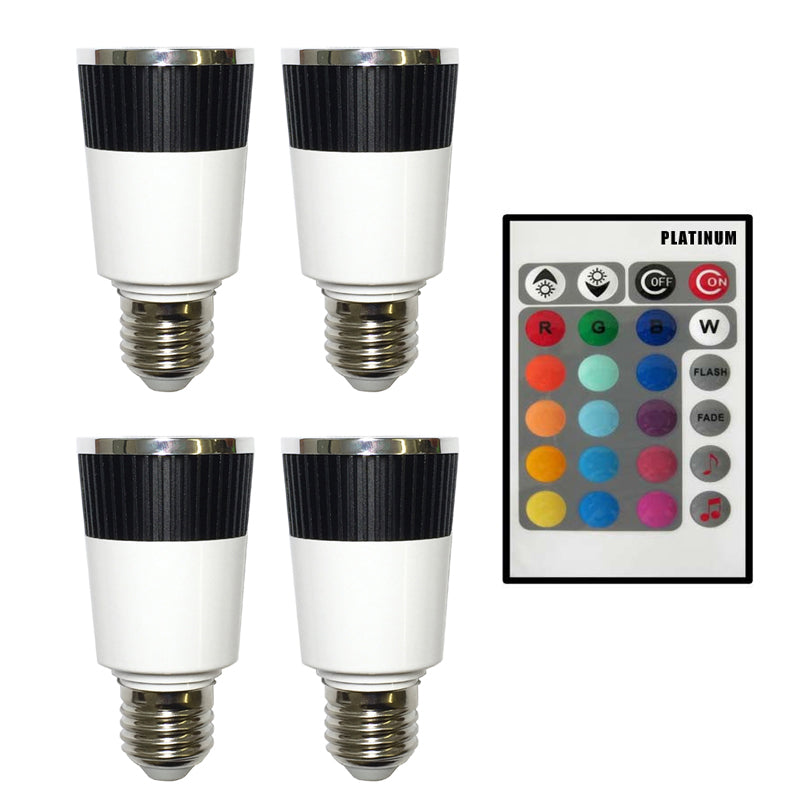 PLATINUM 4 x Music LED Color Changer E27 Lamp With 1 x Wireless Remote
