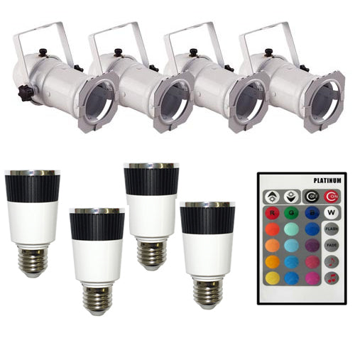 PLATINUM 4 x RGB LED Lamp + 4 x PAR16 White CAN and 1 remote Controller