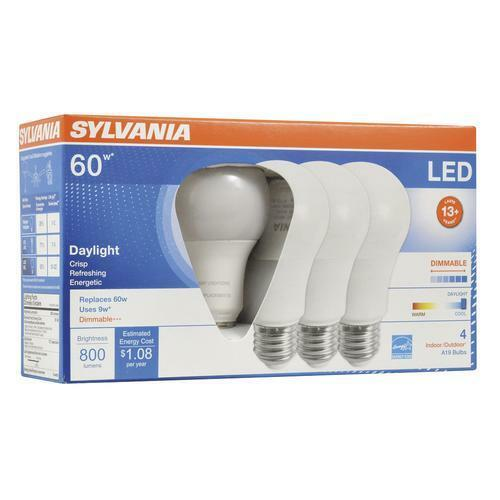 4Pk - Sylvania - 9W A19 LED 800LM 5000K Daylight Dimmable Bulb - 60w equiv