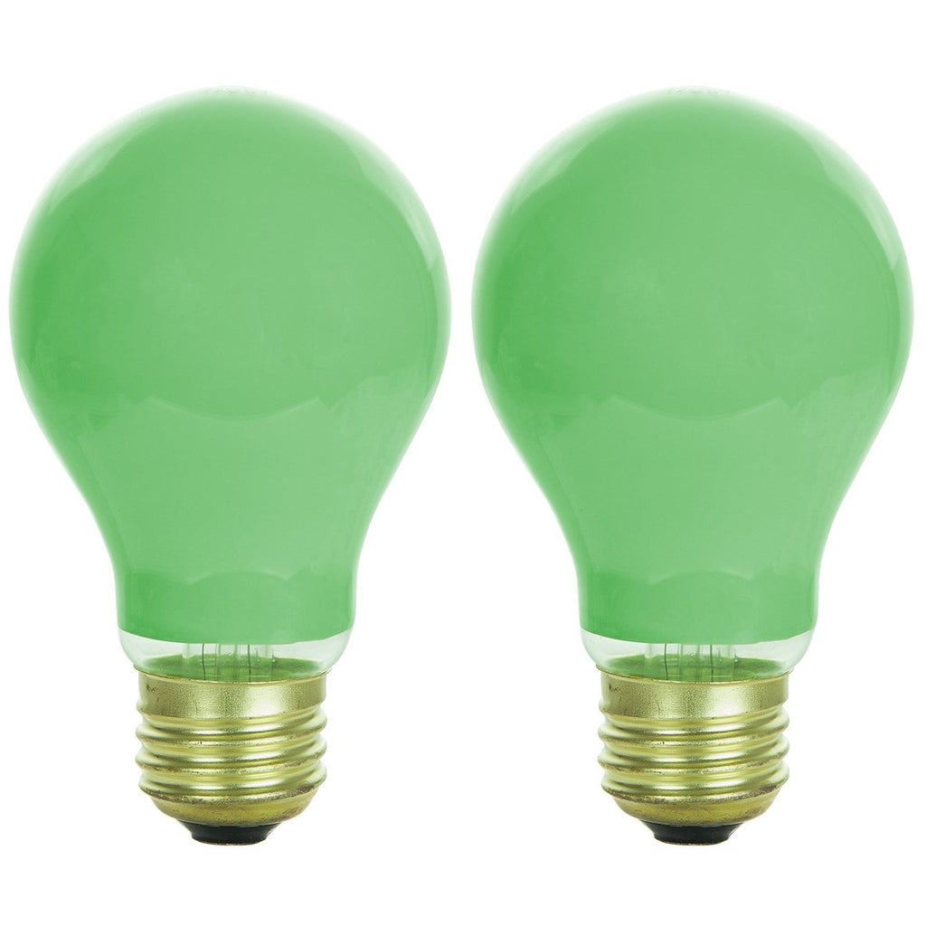 2PK - SUNLITE 40w A19 120v Dimmable Green E26 Medium Base Incandescent Bulb