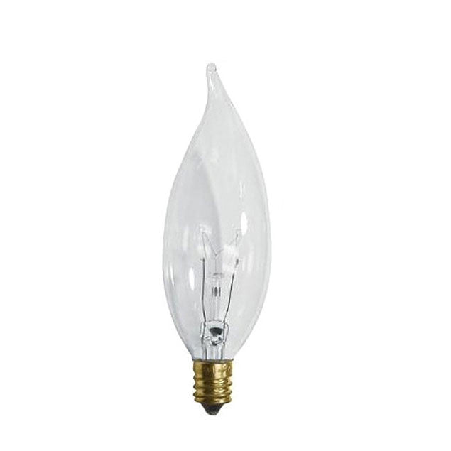 25w Flame Tip 120volt Candelabra Base Clear incandescent Light Bulb