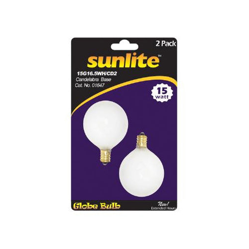 2PK - SUNLITE 60W 120V Globe G16.5 E12 Incandescent Light Bulb