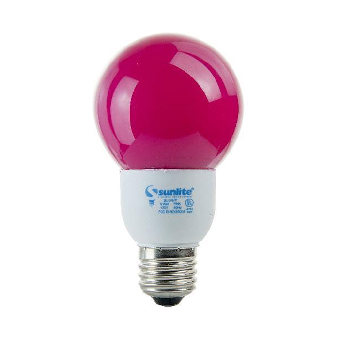 SUNLITE Compact Fluorescent 9W Colored Pink Globes Bulb