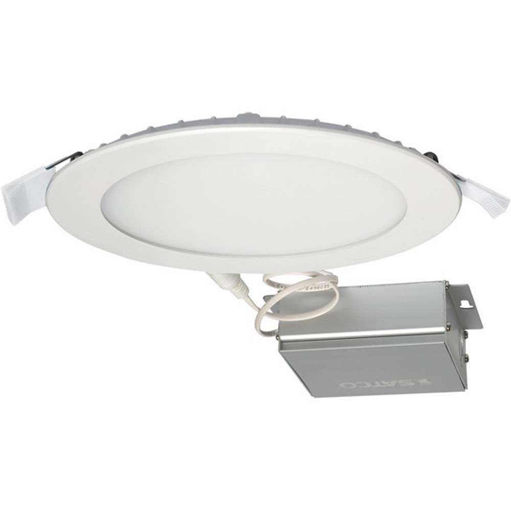 12 watt LED Direct Wire Downlight Edge-lit 6 inch 4000K 120 volt Dimmable Round Remote Driver