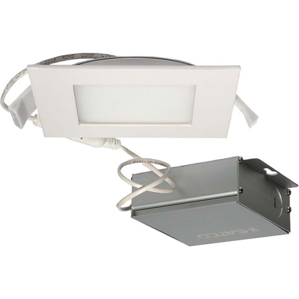 10 watt LED Direct Wire Downlight Edge-lit 4 inch 4000K 120 volt Dimmable Square Remote Driver