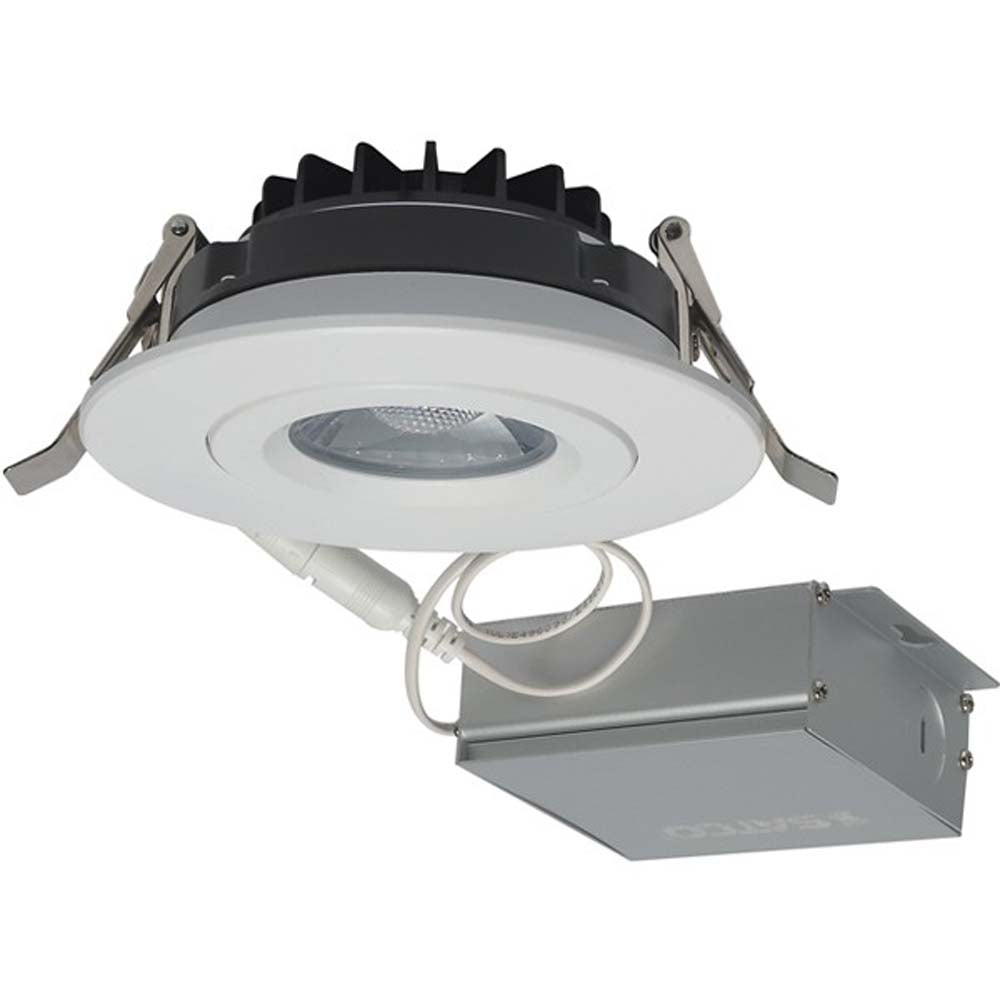 12 watt LED Direct Wire Downlight Gimbaled 4 inch 3000K 120 volt Dimmable Round Remote Driver White
