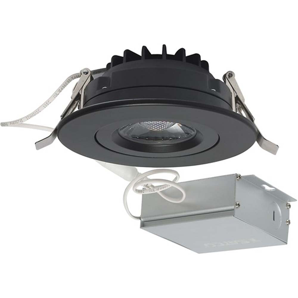 12 watt LED Direct Wire Downlight Gimbaled 4 inch 3000K 120 volt Dimmable Round Remote Driver Black