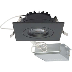 12 watt LED Direct Wire Downlight Gimbaled 4 inch 3000K 120 volt Dimmable Square Remote Driver Black