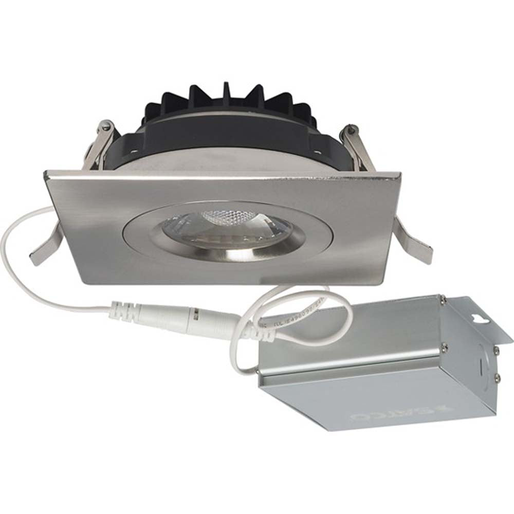 12 watt LED Direct Wire Downlight Gimbaled 4 inch 3000K 120 volt Dimmable Square Remote Driver Brushed Nickel