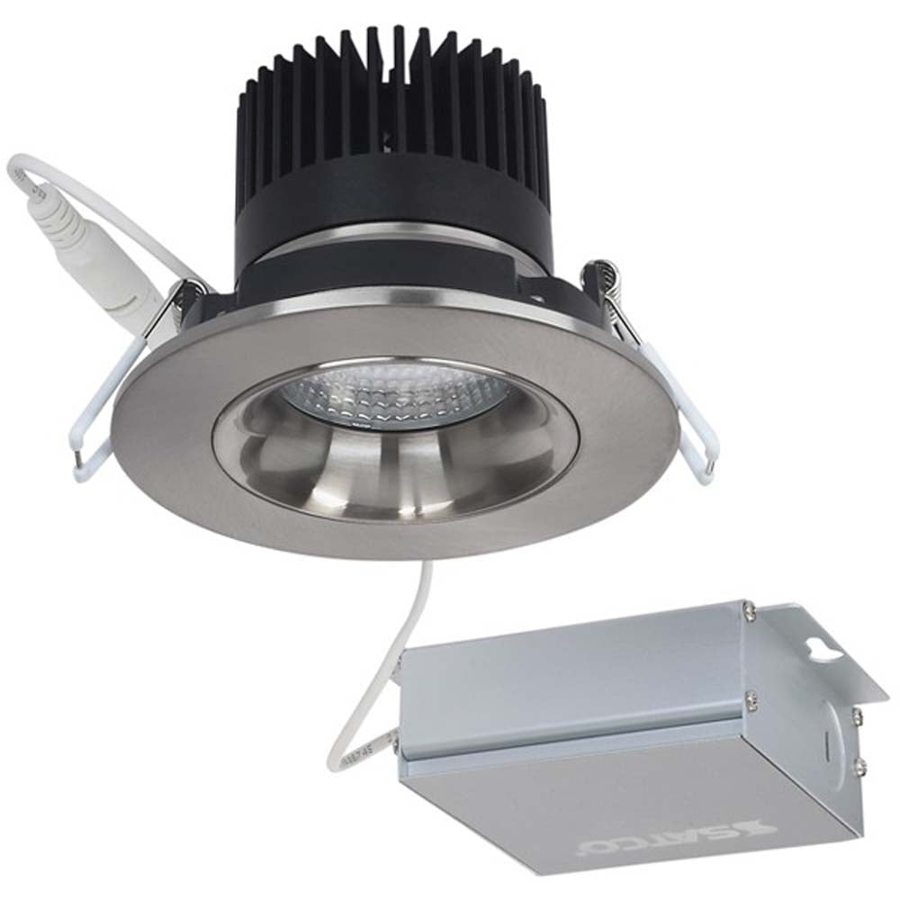 12 watt LED Direct Wire Downlight Gimbaled 3.5 inch 3000K 120 volt Dimmable Round Remote Driver Brushed Nickel