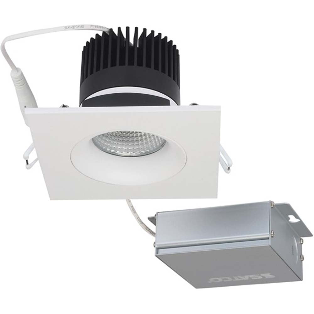 12 watt LED Direct Wire Downlight Gimbaled 3.5 inch 3000K 120 volt Dimmable Square Remote Driver White