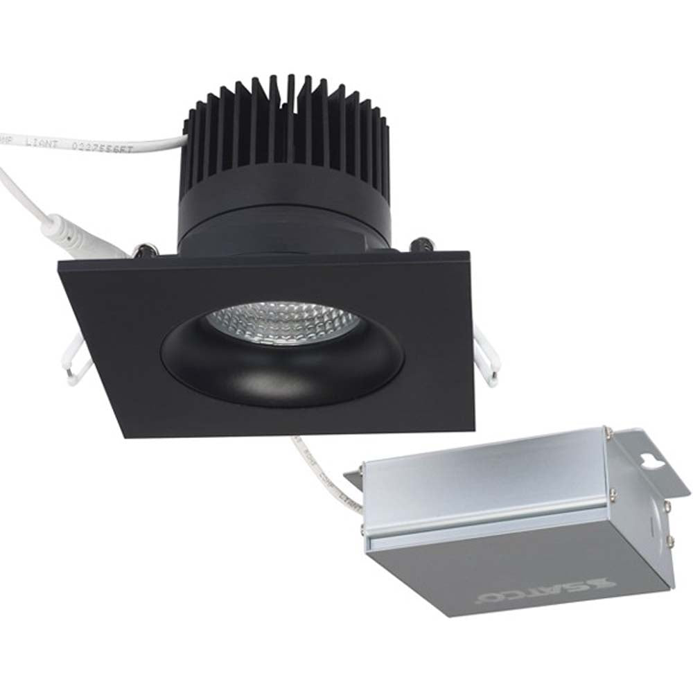 12 watt LED Direct Wire Downlight Gimbaled 3.5 inch 3000K 120 volt Dimmable Square Remote Driver Black