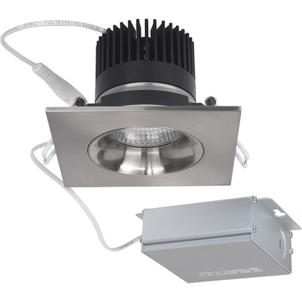 12 watt LED Direct Wire Downlight Gimbaled 3.5 inch 3000K 120 volt Dimmable Square Remote Driver Brushed Nickel