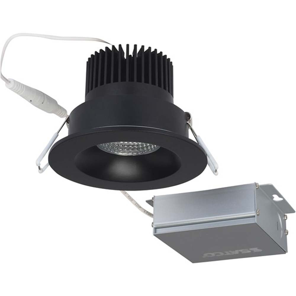 12 watt LED Direct Wire Downlight 3.5 inch 3000K 120 volt Dimmable Round Remote Driver Black