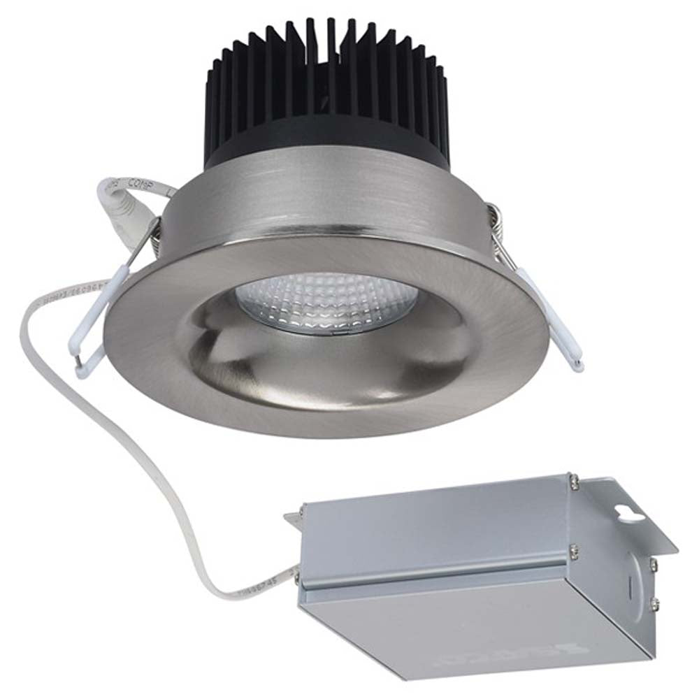 12 watt LED Direct Wire Downlight 3.5 inch 3000K 120 volt Dimmable Round Remote Driver Brushed Nickel