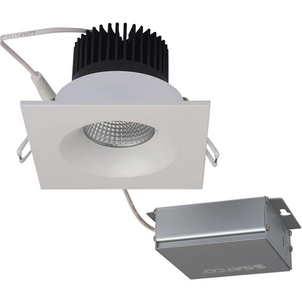 12 watt LED Direct Wire Downlight 3.5 inch 3000K 120 volt Dimmable Square Remote Driver White