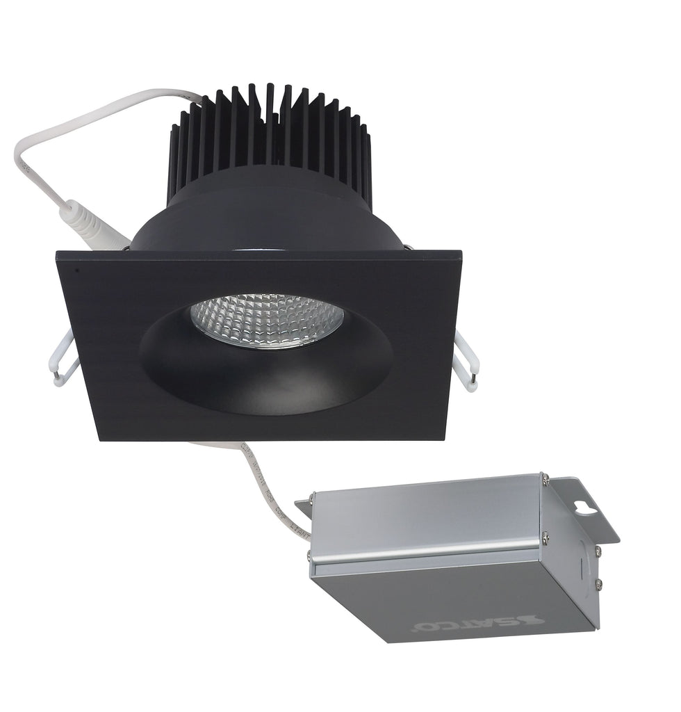 12 watt LED Direct Wire Downlight 3.5 inch 3000K 120 volt Dimmable Square Remote Driver Black