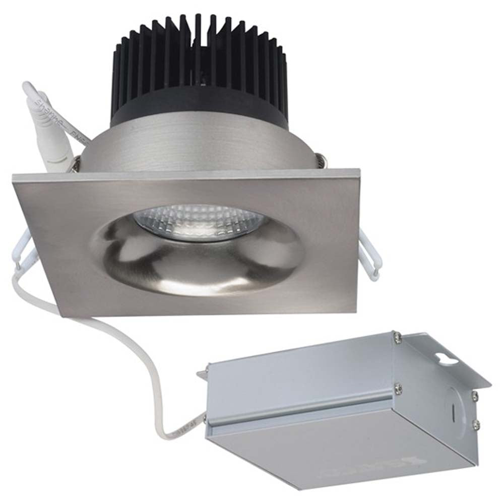 12 watt LED Direct Wire Downlight 3.5 inch 3000K 120 volt Dimmable Square Remote Driver Brushed Nickel