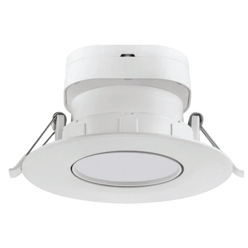 "Satco 4"" 7W Round LED Gimbal Downlight - 3000K - Soft White, White Finish"