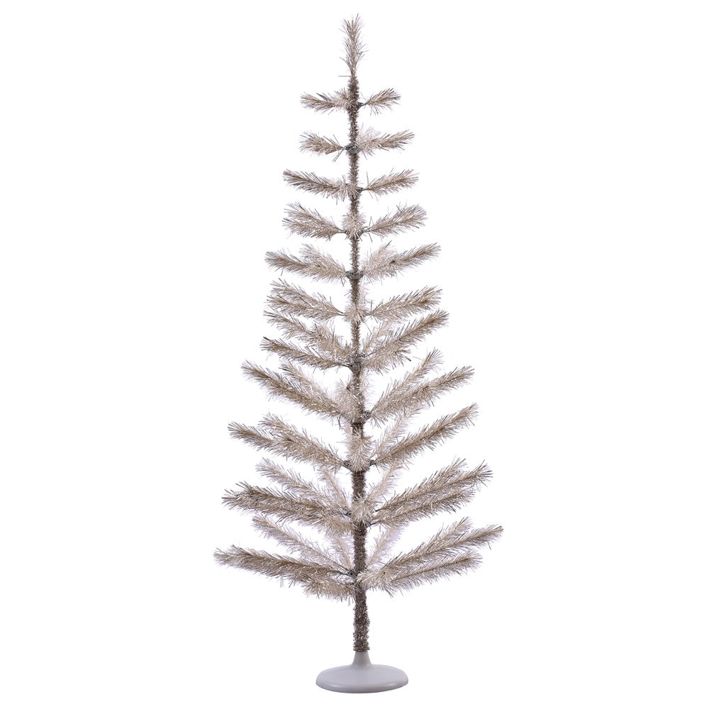 5Ft. Champagne Feather Display Tree 70 PVC Tips Plastic White Stand  Branches