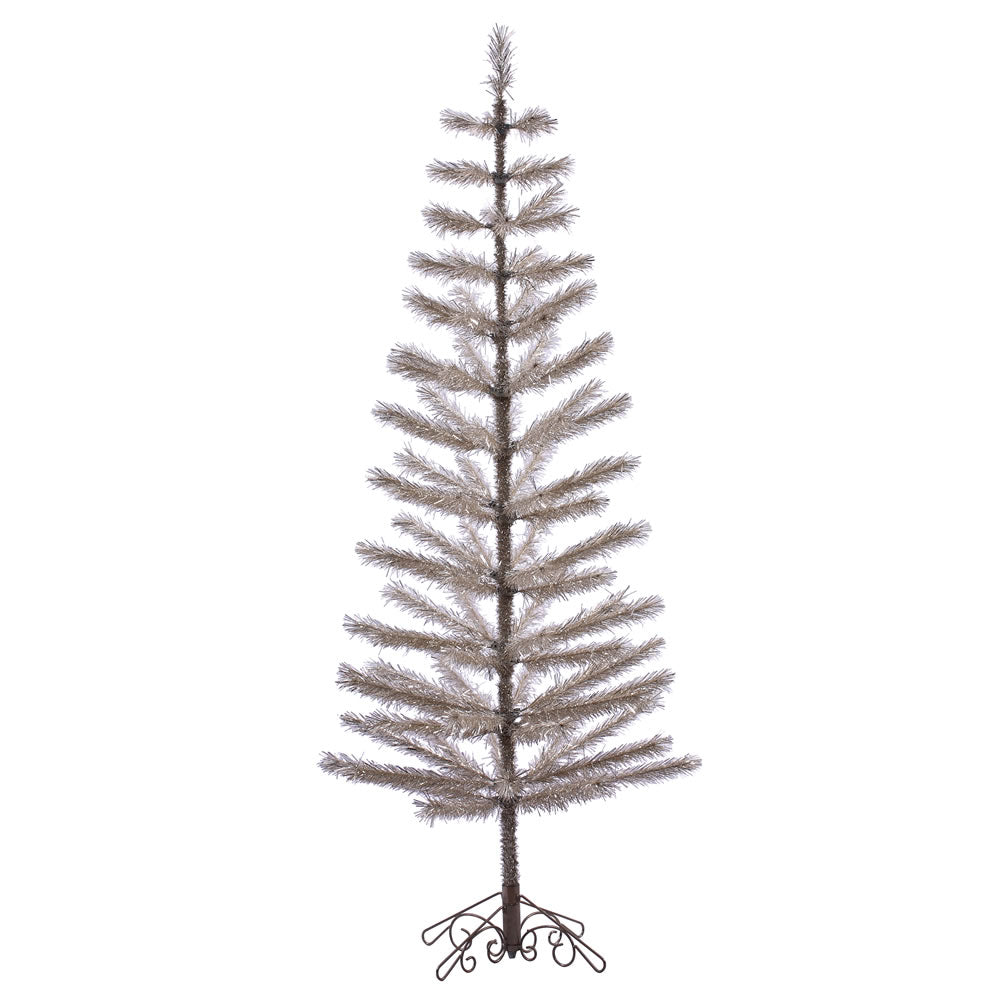 7Ft. Champagne Feather Display Tree 90 PVC Tips Brown Metal Scroll Stand