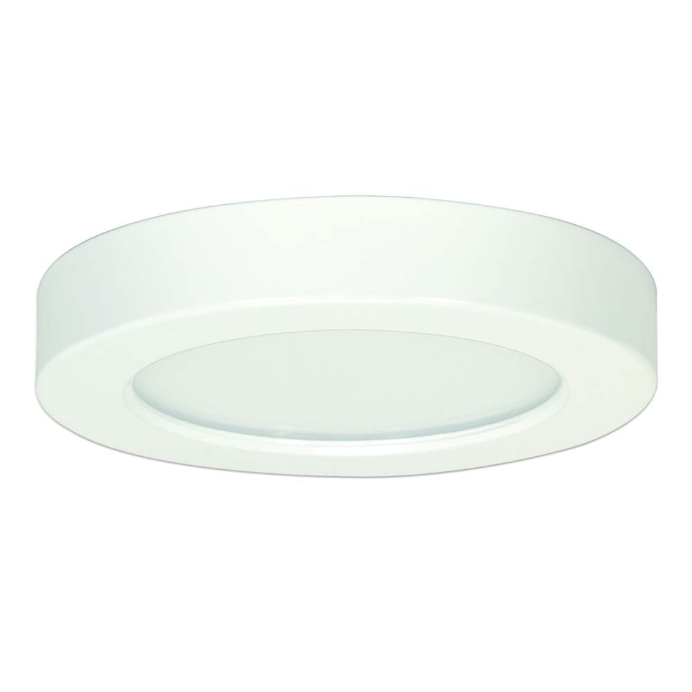 Satco 5.5in. 10.5w Flush Mount LED Fixture 4000K RoundWhite Finish 120 volts