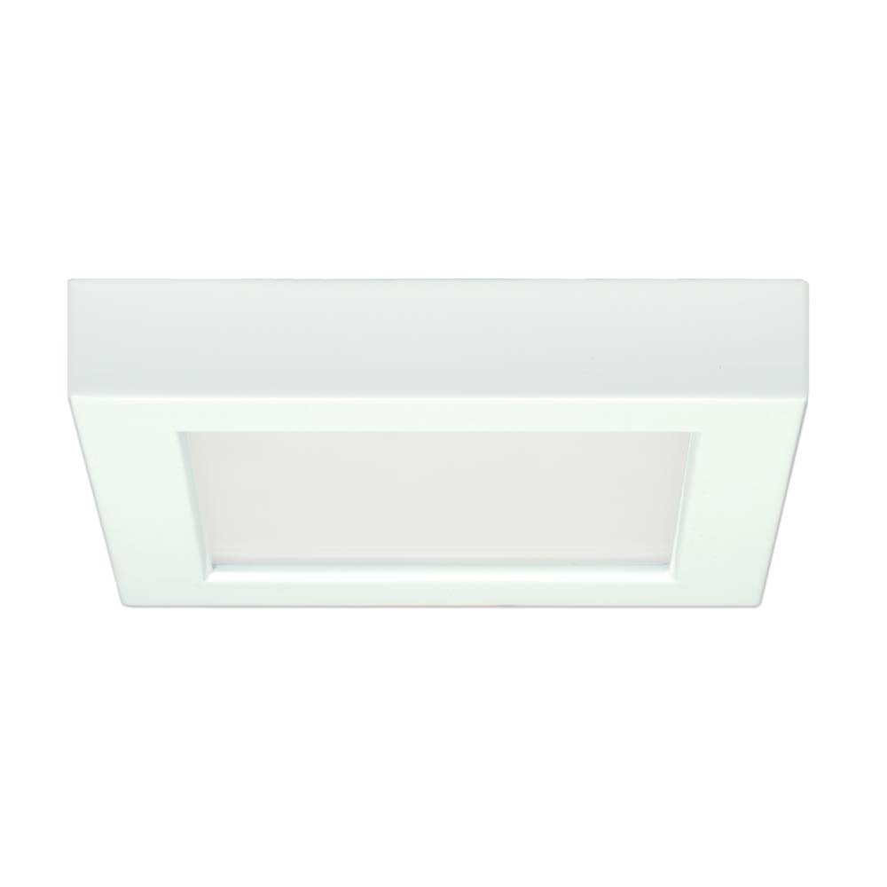 Satco  5.5in. 10.5w Flush Mount LED Fixture 5000K SquareWhite Finish 120 volts