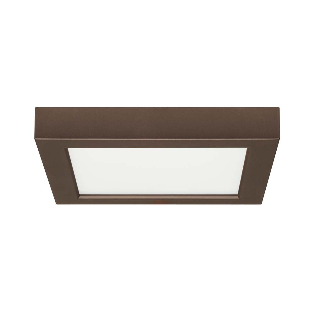 Satco 7in. 13.5w Flush Mount LED Fixture 3000K SquareBronze Finish 120 volts