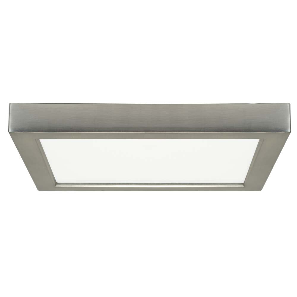 Satco 9in. 18.5w LED Fixture 3000K Square Brushed Nickel Finish 120 volts
