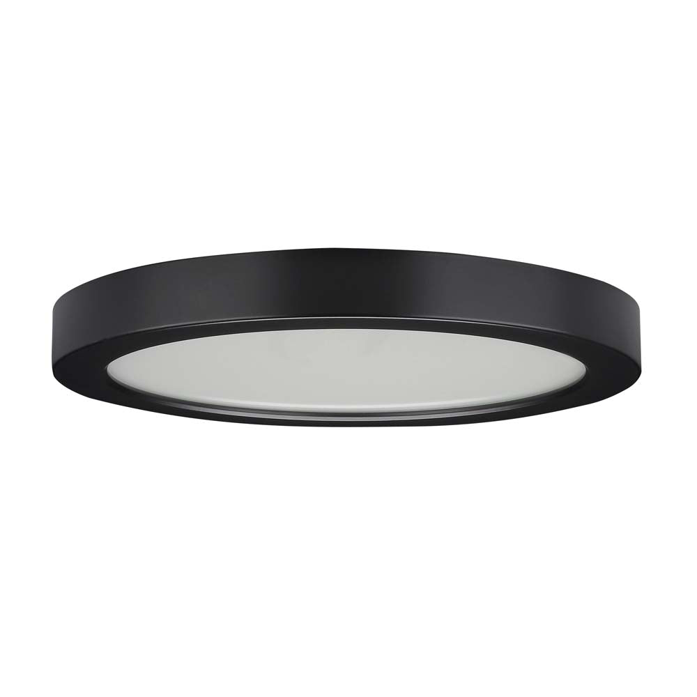 "18.5 watt 9"" Flush Mount LED Fixture 3000K Round Shape Black Finish 120 volts"