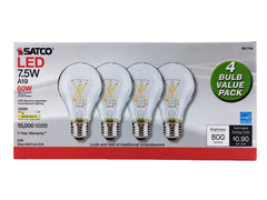 4PK - Satco S21734 - 7.5W A19 LED; Clear; Medium base; 3000K; 120V; 4-Pack