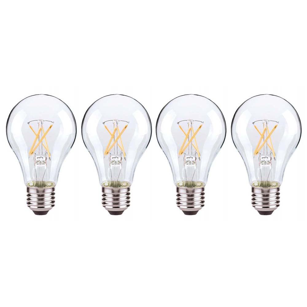 4Pk - Satco 7.5W A19 LED Clear Medium base 3000K 120 Volt