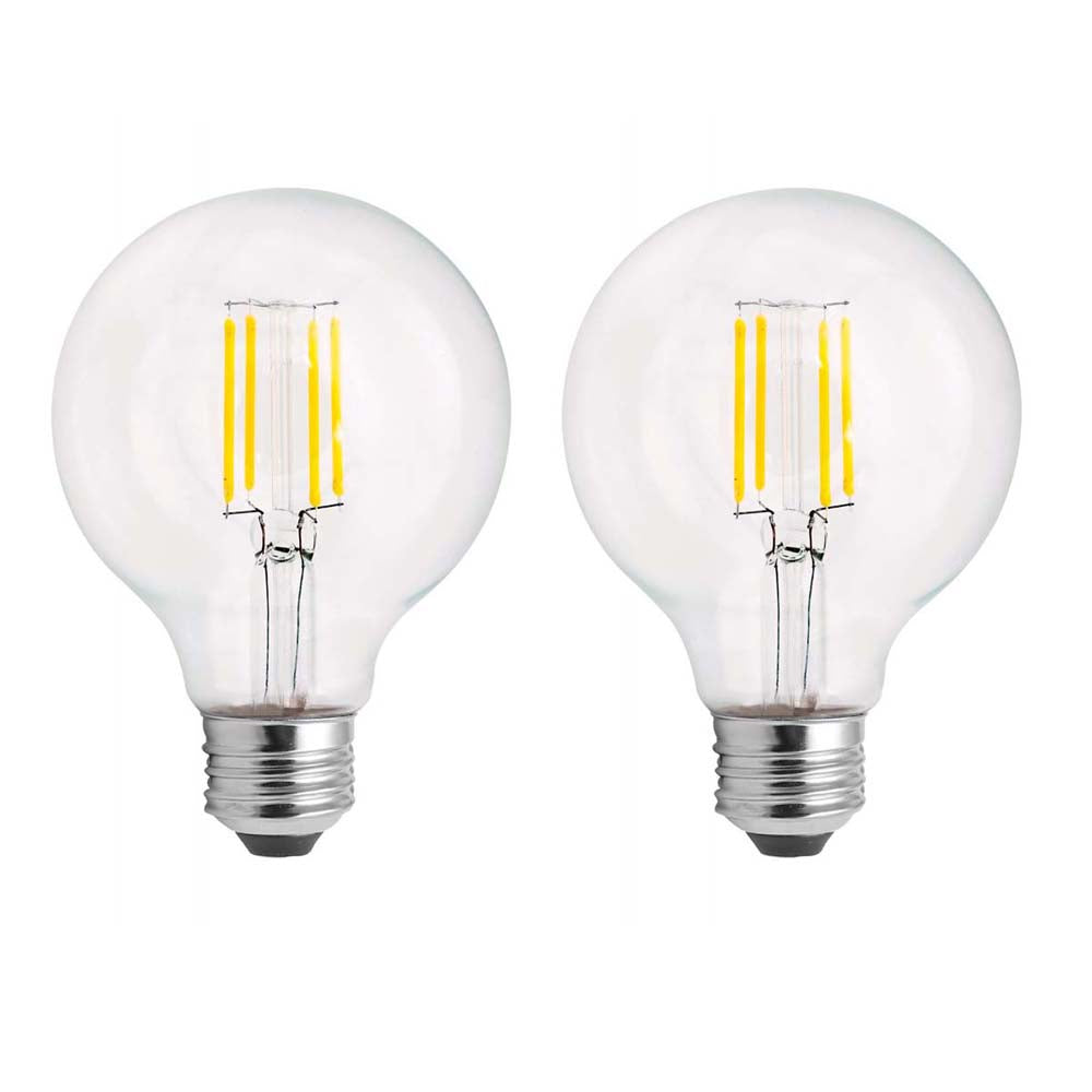 2Pk - Satco 5.5w 120v G25 LED Filament 2700k Warm White E26 Base Dimmable Bulb