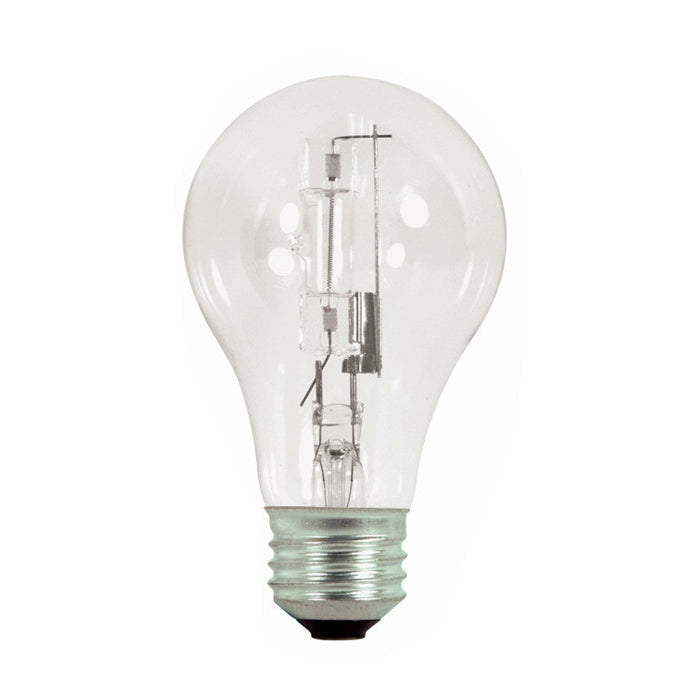 Satco S2404 72w 120v A-Shape A19 Clear Dimmable eXcel Halogen Light Bulb - 2 Pack
