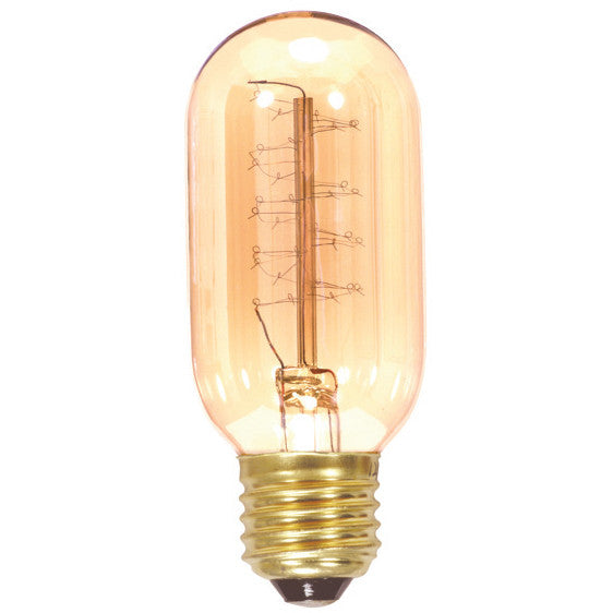 Satco 40w 120v T14 Spiral Antique Carbon Filament Light Bulb