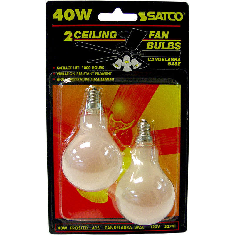 2Pk - Satco S2741 40W 120V A15 Frosted E12 Candelabra Base Incandescent bulb