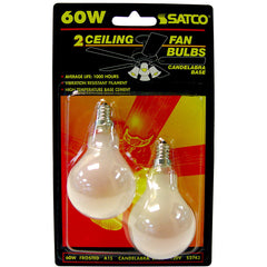 Satco S2743 60W 120V A15 Frosted E12 Candelabra base Incandescent - 2 bulbs /PK