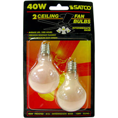 2 Pk - Satco S2745 40W 120V A15 Frosted E17 Intermediate Base Incandescent bulb