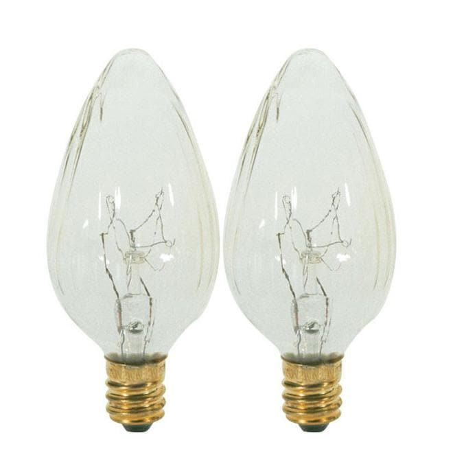 Satco S2771 25W 120V F10 Clear E12 Candelabra Base Incandescent - 2 bulbs /PK