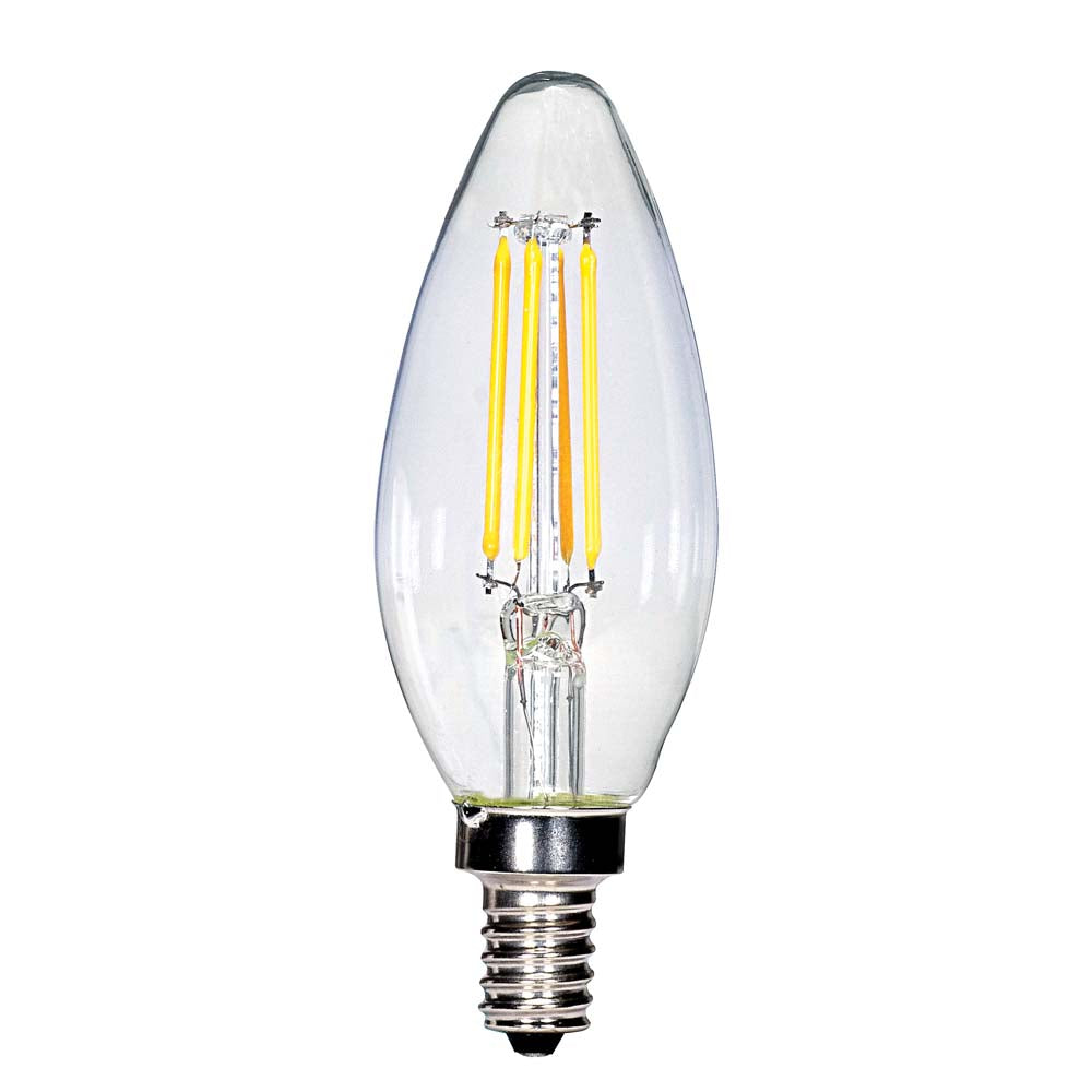 Satco 4w C11 LED Clear Candelabra base 2700K 350 lumens 120 volts Carded