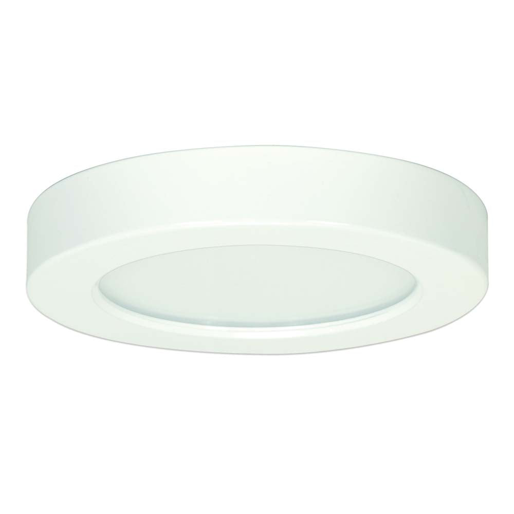 Satco 5.5in. 10.5w Flush Mount LED Fixture 3000K RoundWhite Finish 120 volts
