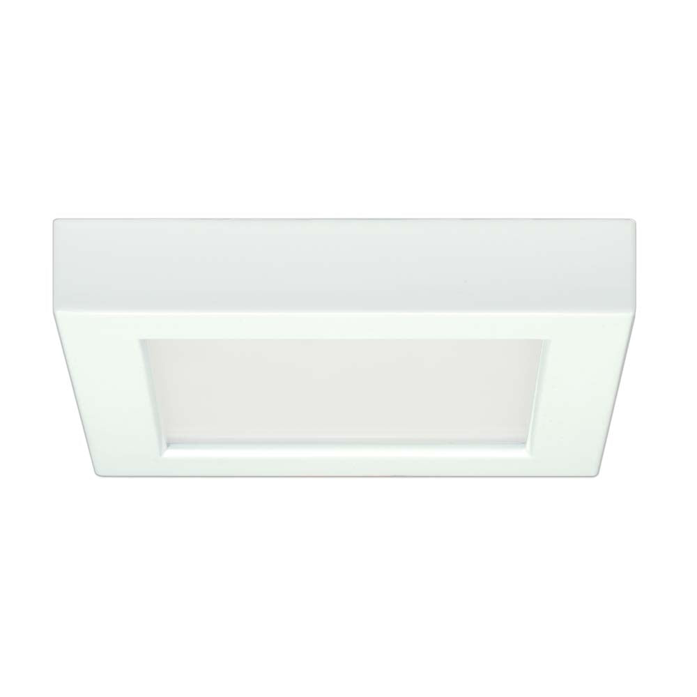 Satco 5.5in. 10.5w Flush Mount LED Fixture 3000K SquareWhite Finish 120 volts