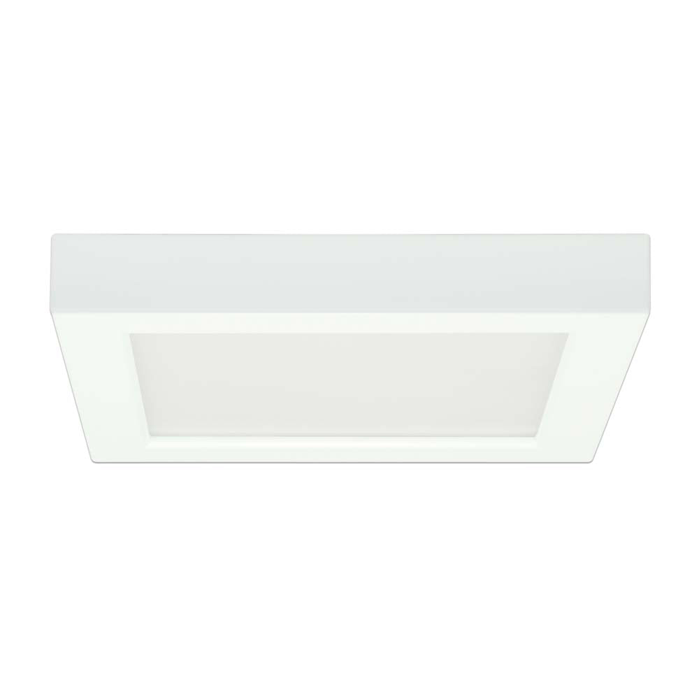 Satco 7in. 13.5w Flush Mount LED Fixture 2700K SquareWhite Finish 120 volts