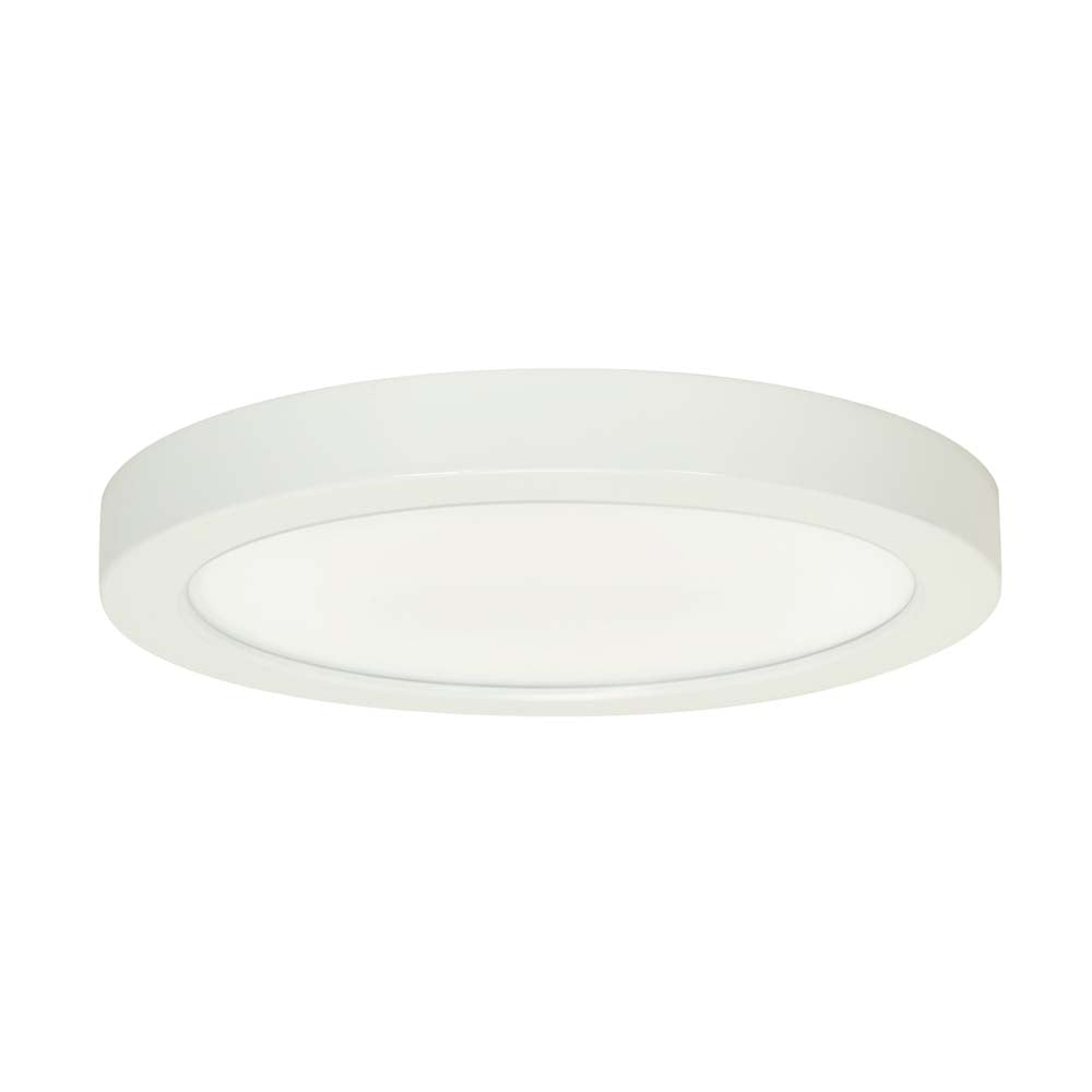 Satco 9in. 18.5w Flush Mount LED Fixture 2700K RoundWhite Finish 120 volts