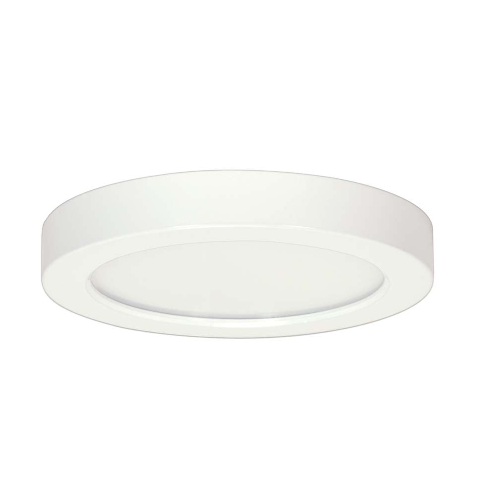 Satco 9in. 18.5w Flush Mount LED Fixture 3000K RoundWhite Finish 120 volts