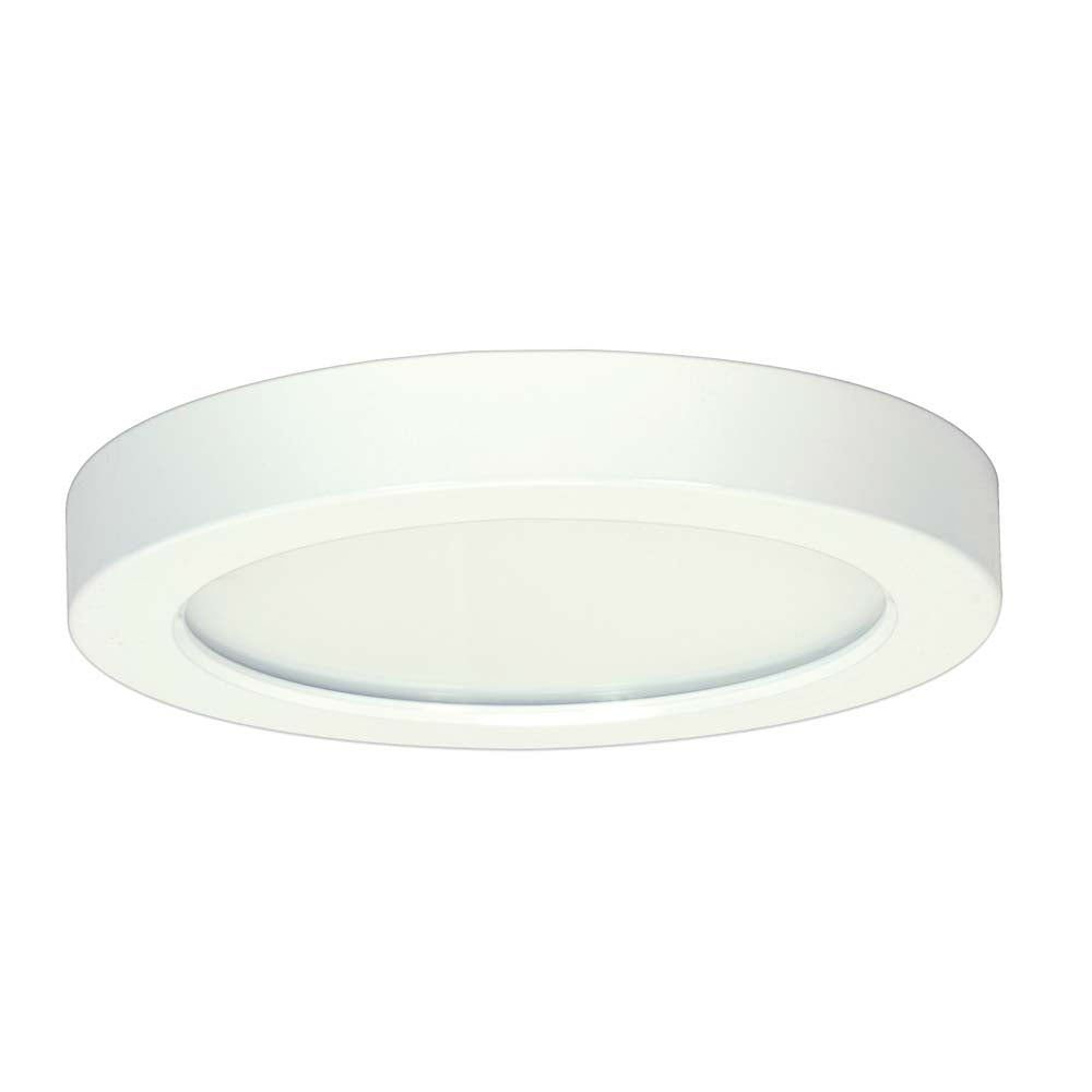 Satco 7in. 13.5w Flush Mount LED Fixture 3000K RoundWhite Finish 277 volts